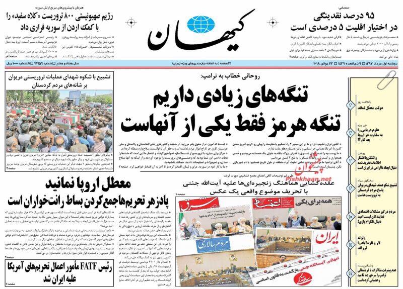 مانشيت طهران: الصحف الأصولية تشيد بتهديدات روحاني ودولار طهران 9000 1