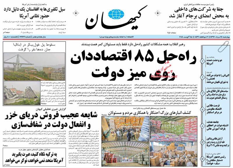 مانشيت طهران: الكشف عن مستودعات للمحتكرين واتفاقية بحر قزوين تحتاج للشفافية! 2
