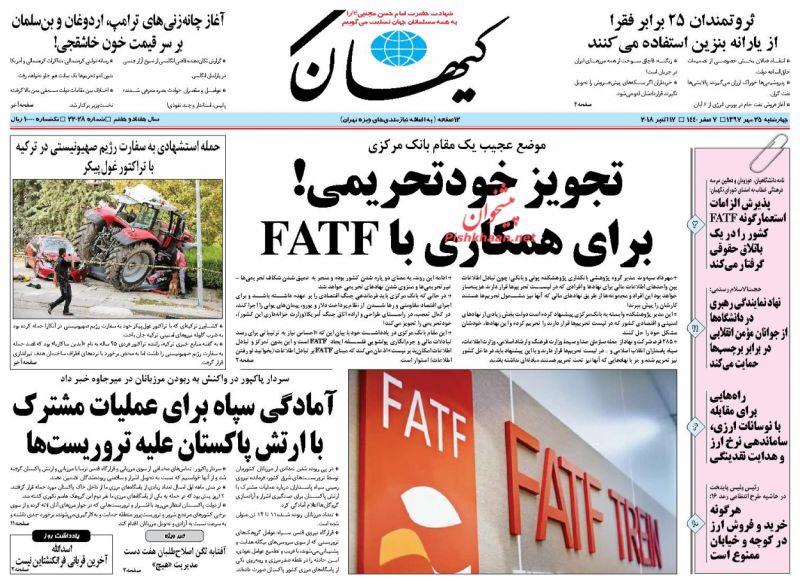 مانشيت طهران: لعبة الموت على الحدود وابواب أزادي تفتح للنساء 1
