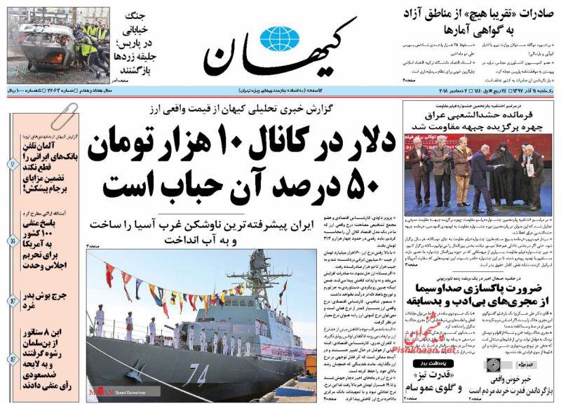 مانشيت طهران: استجواب ظريف ليس في مصلحة البلاد والدولار ينخفض الى عتبة ال 10 الاف 6