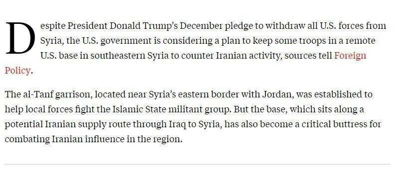 واشنطن- طهران: الأميركيون يخططون للبقاء في قاعدة سوريّة لمواجهة إيران 1