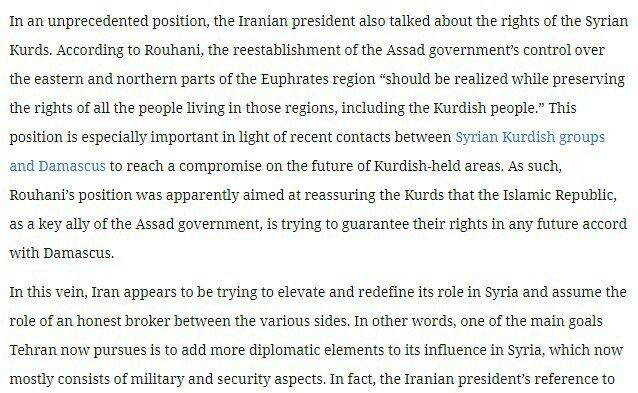 واشنطن - طهران: روحاني يطمئن كرد سوريا ومعايير ترامب المزدوجة بين طهران وبيونغ يانغ 1