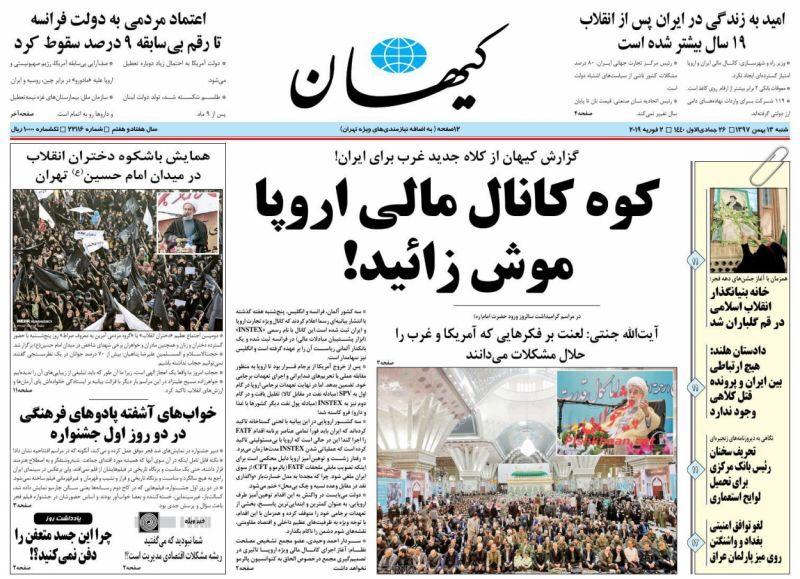 مانشيت طهران: استقبال متفاوت للقناة المالية الأوروبية 1
