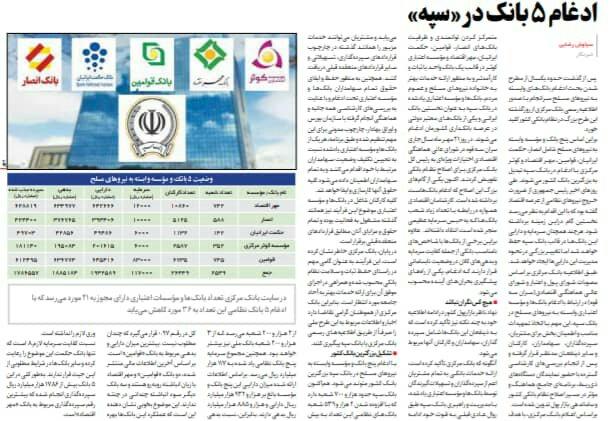 """بين الصفحات الإيرانية: ترحيبٌ برلماني بقانون الـ""""كوبون"""" وكيف اصبح سبه أكبر بنكٍ في إيران؟ 5"""