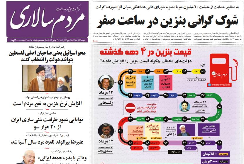 """مانشيت إيران: ما بين استقالة روحاني ودعوات إنهاء الدعم الخارجي لـ """"المقاومة""""… كيف عالجت الصحف الإيرانية قضية ارتفاع أسعار البنزين؟ 1"""