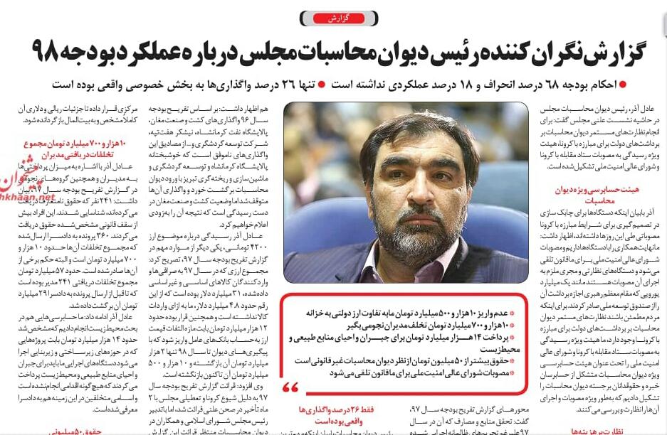 مانشيت إيران: أرقام رسمية تكشف هدرا كبيرا في موازنة إيران قبل عامين 10