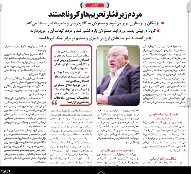 مانشيت إيران: العودة إلى العمل مع نهاية إبريل والشعب غير مستعد 9
