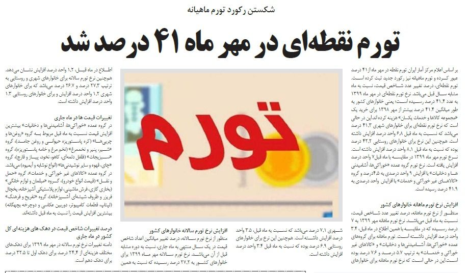 مانشيت إيران: منحنى التضخم في تصاعد.. ما أخر الأرقام؟ 5