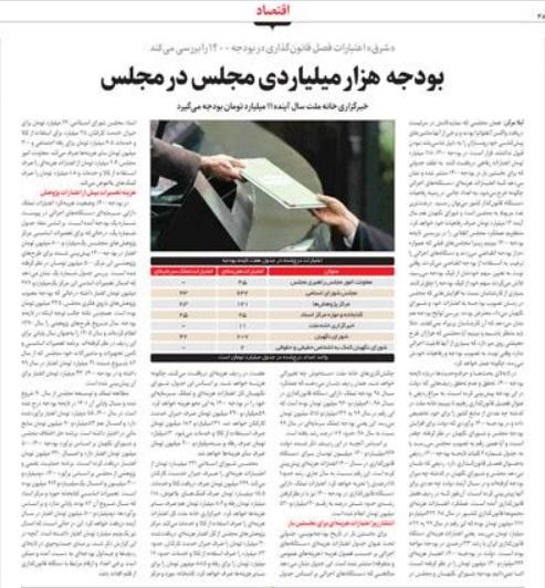 مانشيت إيران: هل يخفف البرلمان من نفقاته الموضوعة في موازنة العام المقبل؟ 6