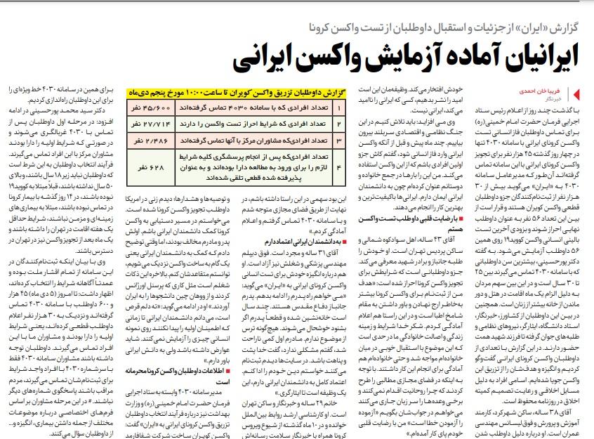 مانشيت إيران: 45 ألف شخص تبرّع لاختبار لقاح كورونا الإيراني 8