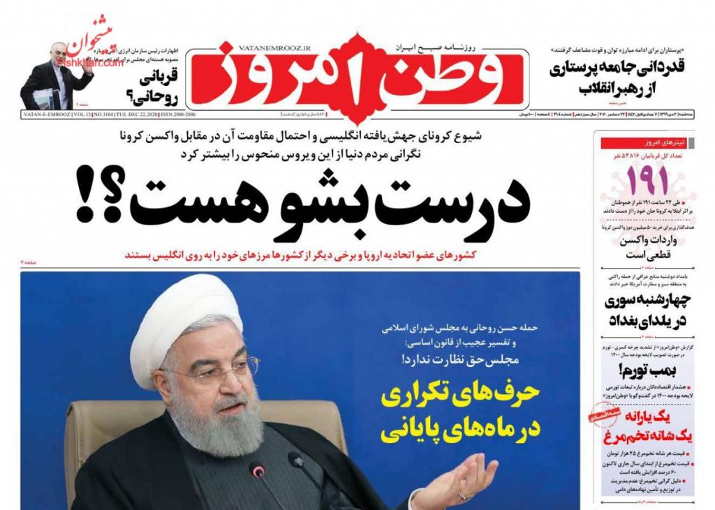 مانشيت إيران: الإيرانيون بين كورونا والتلوث والأزمات الاقتصادية 3