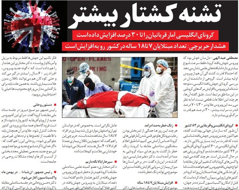 مانشيت إيران: هل تصل إيران إلى النموذج الأوروبي بعد انتشار سلالات كورونا الجديدة فيها؟ 6