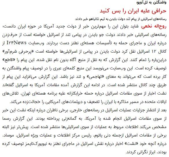 مانشيت إيران: ما هي أبعاد رسالة بايدن إلى نتانياهو؟ 6
