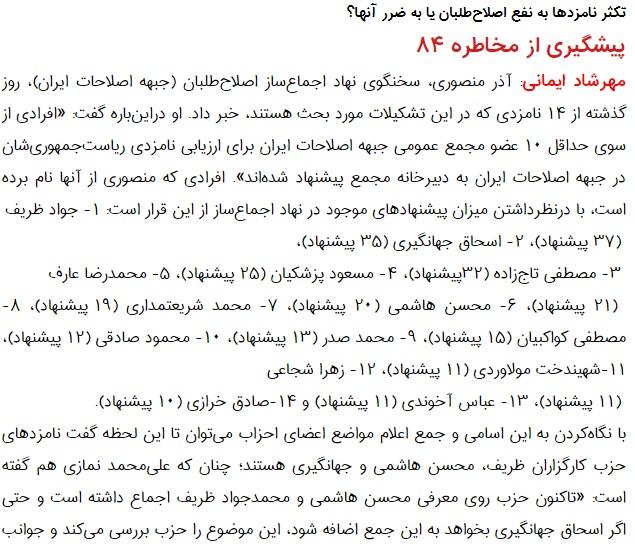 مانشيت إيران: هل يتوافق الإصلاحيون على اسم مرشح واحد للانتخابات الرئاسية؟ 7